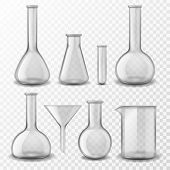 Chemical Glass Equipment. Laboratory Glassware Empty Test Tubes Beaker And Flask, Medical Lab Experi poster