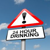 picture of underage  - Illustration depicting a road traffic sign with a 24 hour drinking concept - JPG