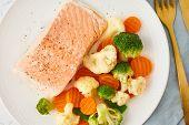 Steam Salmon And Vegetables, Paleo, Keto, Fodmap, Dash Diet. Mediterranean Diet With Steamed Vegetab poster
