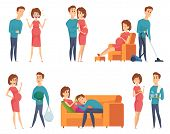 Pregnant Couples. Happy Young Family Mother And Father Husband Near Happy Pregnant Wife Vector Chara poster