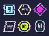 Glitch Banners. Hipster Poster Distortion Glitch Broken Frames And Text Badges Template Vector Abstr poster