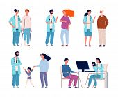 Hospital Patients. Doctors Consulting Dialog With Patients Healthcare Groups In Clinic Vector Treatm poster