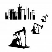 foto of oil well  - Isolated silhouettes of an oil refinery and oil wells is original artwork - JPG