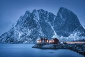 Red Rorbu On Sea Coast And Snow Covered Mountain At Dusk. Lofoten Islands, Norway. Moody Winter Land poster