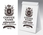 Paper Package With Label For Freshly Roasted Coffee Bean. Vector Label For Coffee With Hand-drawn Me poster