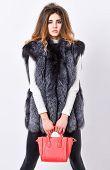 Female Fashion Model Hold Purse. Girl Fashion Lady Stylish Hairstyle Wear Mink Fur Coat. Fashion Sty poster