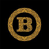 Premium, Elegant Capital Letter B In A Round Frame Is Made Of Floral Ornament. Baroque Style.elegant poster