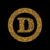 Premium, Elegant Capital Letter D In A Round Frame Is Made Of Floral Ornament. Baroque Style.elegant poster