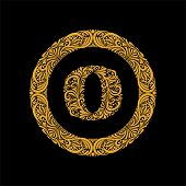 Premium, Elegant Capital Letter O In A Round Frame Is Made Of Floral Ornament. Baroque Style.elegant poster
