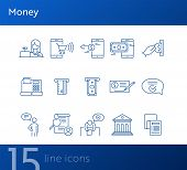 Money Icons. Set Of Line Icons On White Background. Bank Check, Card Reader, Online Shopping. Bankin poster