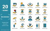 Insurance Icon Set. Include Creative Elements Medical Insurance, Travel Insurance, Life Insurance, F poster