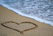 Close Up Of Hand Drawing Heart In The Sand On Bright Blue Sea Background. Drawing In The Sand For Ha poster