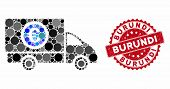 Mosaic Delivery Cost And Rubber Stamp Seal With Burundi Caption. Mosaic Vector Is Designed With Deli poster