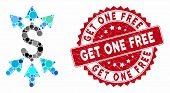 Mosaic Payment Broker And Distressed Stamp Watermark With Get One Free Caption. Mosaic Vector Is Des poster