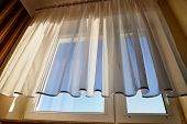 Transparent White Curtain On Window. Curtain Background poster