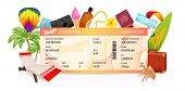 Boarding Pass (ticket, Traveler Check Template) Creative Concept. Travel Vector Background With Airp poster