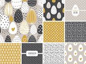 Cute Set Of Scandinavian Easter Eggs Collection Seamless Pattern Background With Hand Drawn Textures poster