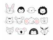 A Poster With Portraits Of Cute Animals. Children S Doodle Print With Different Animals. Wild Animal poster
