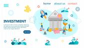 Bank Investment Banner Concept Vector Illustration. Tiny People Make Deposits For Saving And Multipl poster