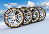 Постер, плакат: Набор колес автомобилей в Снежный пейзаж