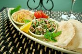 foto of tabouleh  - Tabouleh with hommus and lemon chick peas with fresh pita bread - JPG