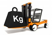foto of weight lifter  - fork lifter lifting black weight with kg word on white background - JPG