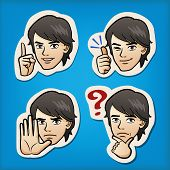image of manga  - Cartoon Handsome man expressing different emotion with hand signs - JPG
