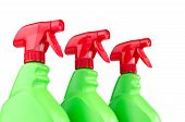 picture of trigger sprayer bottle  - Three red and green plastic spray bottle containers isolated on white background - JPG