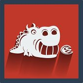 Funny white dragon in flat design on red. Vector.