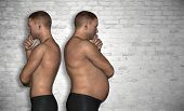 stock photo of obese man  - Concept or conceptual 3D fat or overweight and slim fit young man on diet over vintage brick wall background - JPG