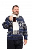 foto of shilling  - Bearded man in sweater invites you to beer festival on white background - JPG