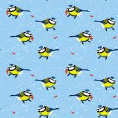 image of chickadee  - Seamless background black - JPG