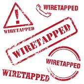 picture of wiretap  - Set of vector wiretapped stamp - JPG