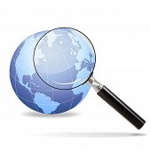 pic of yoke  - Magnifying glass focuses on the old continent on the planet earth - JPG