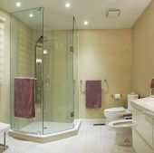 stock photo of wash-basin  - Interior design of a bathroom in new house - JPG