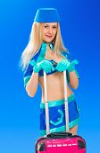 foto of air hostess  - Air hostess with her pink bag on blue sky - JPG