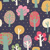 Outdoor concept seamless pattern. Cartoon trees in vector background. Seamless pattern can be used f