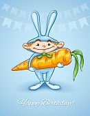 happy little boy in rabbits costume with big carrot . Rasterized illustration.