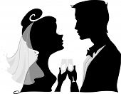 Illustration Featuring the Silhouette of a Bride and Groom Doing a Wedding Toast