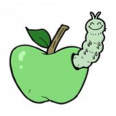 cartoon apple with bug