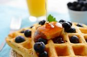 A breakfast setting of delicious waffles in the morning