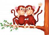 stock photo of chimp  - Vector illustration of Two monkeys cartoon sitting on a tree - JPG
