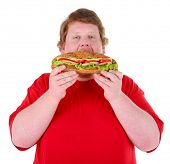 Fat man holding sandwich, isolated on white