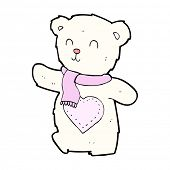 cartoon white teddy bear with love heart