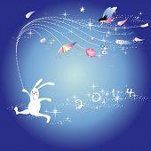 stock photo of rabbit year  - New year greeting card - JPG
