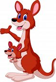 picture of opossum  - Vector illustration of Cartoon red kangaroo carrying a cute Joey - JPG