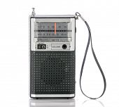 1960's era transistor radio isolated on a white background.