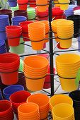 Colorful plant pots up for sale