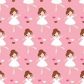 Seamless ballerina dance girl kids illustration background pattern in vector