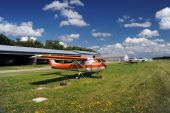 picture of cessna  - Orange airplane moored on the airfield in nice sunny weather - JPG